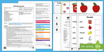 Shopping Number Recognition Activity Adult Input Plan and Resource Pack - Mathematics, shops, shop, receipt, counting, number, buy, more, less, maths,
