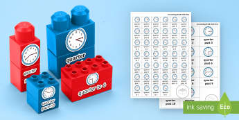 Quarter Past and Quarter To Times Matching Connecting Bricks Game - EYFS, Early Years, KS1, Connecting Bricks Resources, Duplo, Lego, Plastic Bricks, Building Bricks, T