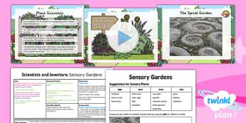 PlanIt - Science Year 1 - Scientists and Inventors Lesson 3: Sensory Gardens Lesson Pack - plants, senses, pictogram