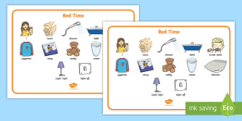 Bed Time Communication Board Visual Aid - Bedtime, communication board, core board, night time routine