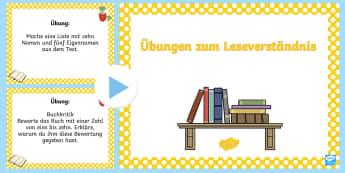 Übungen zum Leseverständnis PowerPoint - Lesen, Buch, Bücher, Lektüre, Texte, Deutsch,,German