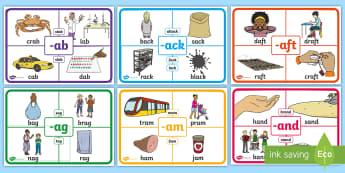 ROI Rime Display Posters-Irish - rime, phonics, phonological awareness, reading, sounds, word families, display posters, ROI, Ireland