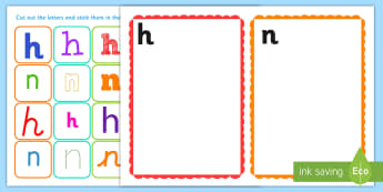 n and h Confusing Letter Sorting Cards - n and h Confusing Letter Sorting Cards - letters, sorting, leters, lettes, nh, n, h, confusion, conf