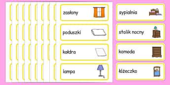 Karty ze słownictwem Dom po polsku - meble, pomieszczenia