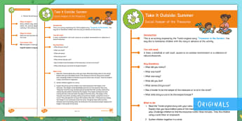 KS1 Take It Outside: Summer Keeper of the Treasures Activity - outdoor learning, nature detectives, forest schools, circle time, Treasures in the Garden, outdoor, woodland learning, twinkl outdoor and woodland learning owl get it