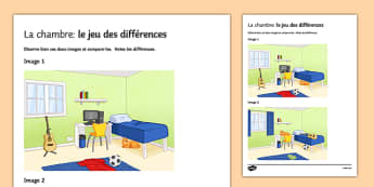 La chambre : jeu des différences - french, Bedroom, Furniture, Preposition, Description, Chambre, Picture, Difference