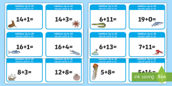 Addition up to 20 Cards English/Romanian - Addition up to 20 Cards - addition, cards, 20, up to 20, add, +,  EAL