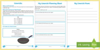 Limerick Poem Writing Template - Literacy, Interpreting, analysing, evaluating, english, poetry, writing, poems, poetry, cinquain poe