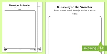 Dressed For the Weather Activity Sheet - Junior and Senior Infant  PlanningSubject Planning, weather, geography, worksheet, clothes, rain, su