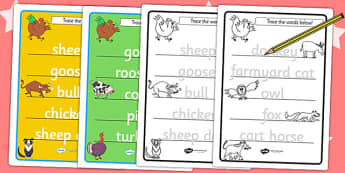 Trace the Words Worksheets to Support Teaching on Farmyard Hullabaloo - farm, words