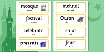 Eid Topic Words Arabic Translation - arabic, eid, word cards