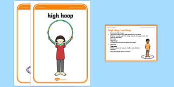 Foundation PE (Reception) High Hoop Low Hoop Warm-Up Activity Card - physical activity, foundation stage, physical development, games, dance, gymnastics