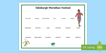 Edinburgh Marathon Festival Word Mat - CfE Edinburgh Marathon (27th of May), Edinburgh, marathon, scotland, scottish, events,Scottish