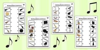 Music Shadow Matching Worksheet - music, shadow, matching, sheet