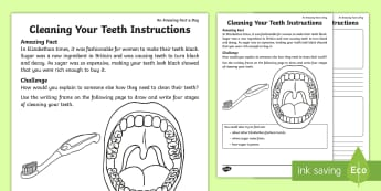 Clean Your Teeth Instructions Activity Sheet - amazing fact a Day august, hygiene, keeping healthy, KS1, science, worksheet
