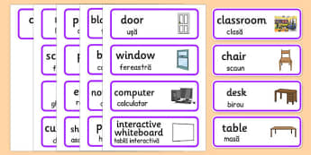 Classroom Word Cards Romanian Translation - romanian, classroom, word cards, word, cards