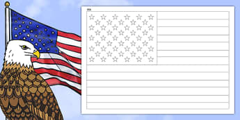 USA A4 Colouring Flag - geography, flags, country, colour in