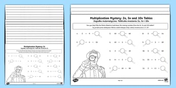 Multiplication tables missing numbers activity sheet English/Polish