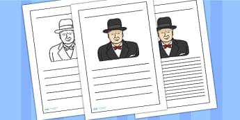 Winston Churchill Writing Frame - winston churchill,  writing frame, writing template, writing guide, writing aid, line guide, writing guide, writing help