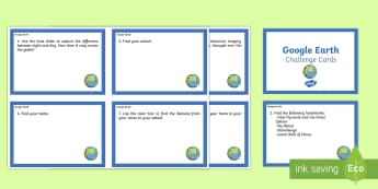 Google Earth Challenge Cards - google earth, using google earth, google earth challenge cards, distances, measuring distances, google earth scavenger hunt, ks2
