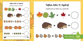 Adio Yr Hydref Taflen Weithgaredd Rhif - mathemateg, rhif, adio, hydref, Cymraeg, maths, addition, number, Autumn, Welsh,Welsh