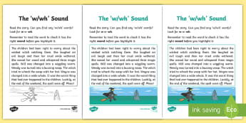 Northern Ireland Linguistic Phonics Stage 5 and 6 Phase 3b, 'w, wh' Sound Activity Sheet - Linguistic Phonics, Phase 3b, Northern Ireland, 'w', 'wh', sound, sound search, text, workshee