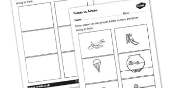 Labelling Forces Worksheet - forces, forces worksheet, forces labelling worksheet, forces and motion, push and pull, friction, resistance, ks2 science