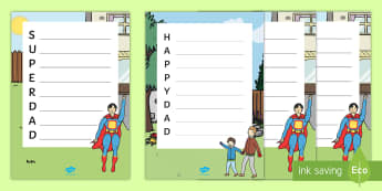 Super and Happy Dad Acrostic Poem - NI Father's Day, acrostic poem, Literacy, dad, father, superdad