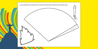 Make Your Own Olympic Torch - Olympics, Olympic Games, sports, Olympic, London, 2012, creative, design, draw, how to make your own Olympic Torch, Olympic torch, flag, countries, medal, Olympic Rings, mascots, flame, compete, tennis, athlete, swimming