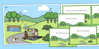Park Scene and Question Cards - park, scene, question, cards