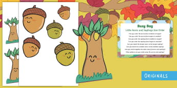 Little Acorns and Saplings  Busy Bag Prompt Card and Resource Pack - oak, twinkl fiction, twinkl originals, big, small, little, compare, size, shape, measure, pattern