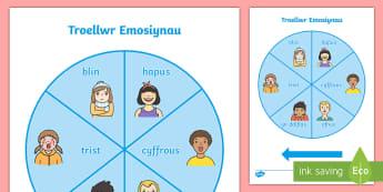 Troellwr Emosiynau Pecyn Adnoddau - Emosiynau, Teimladau, Troellwr, Gemau, Chwarae Rôl, Emotions, Feelings, Spinner, Role Play, Games,,