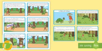 La liebre y la tortuga Tarjetas de secuenciar de cuento - cuento, infantil, moraleja, liebre, tortuga, fábula, animales, valores,Spanish