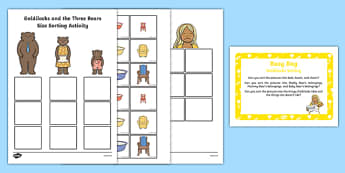 Goldilocks Sorting Activity Busy Bag Prompt Card and Resource Pack