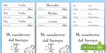 Cuadernillo: Mi diario del tiempo - diario del tiempo, el tiempo, diario, agenda, plantilla, ficha, actitivdad, tiempo, sol, lluvia, nub