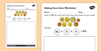 Adding Euro Coins Worksheet - money, currency, euros, coin