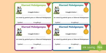 Tystysgrifau Diwrnod Mabolgampau - mabolgampau, diwrnod, chwaraeon, tystysgrif, tystysgrifau, ennill, sports day, sport day, race, PE,