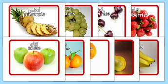 Fruit Flashcards Arabic Translation
