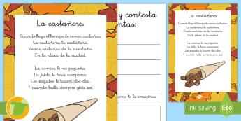 Canción de la Castañera: preguntas Ficha de actividad - otoño, fiestas, tradiciones, castañas, castañera,Spanish