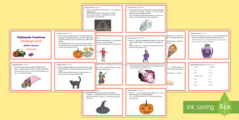 Year 5 Halloween Fractions Maths Challenge Cards English/Hindi  - Priority Fractions, fractions, amounts, challenge, maths, numeracy, number, cards, test, Halloween