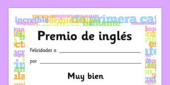 Diploma de inglés - premio, éxito, lenguas