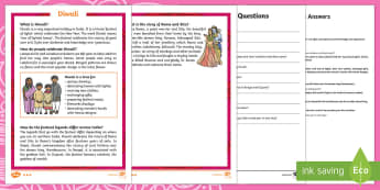 KS1 Diwali Differentiated Reading Comprehension Activity