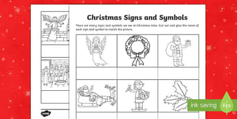 Christmas Signs and Symbols Word and Picture Matching Activity Sheet-Australia