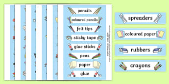 Editable Creative Area Resource Labels (Blue) - Creative resource labels, Label template, Resource Label, Name Labels, Editable Labels, Drawer Labels, KS1 Labels, Foundation Labels, Foundation Stage Labels