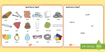 ورقة مفردات متعلّقة بالمواد وخصائصها  - المواد وخصائصها، العلوم، مفردات، فيزياء، أنشطة,Arabic