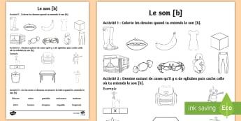 Feuille d'activités : Le son [b] - Son [b], lecture, Français, cycle 2, Cycle 1, Reading, sound,French