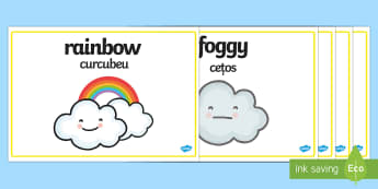 Weather Words Display Posters English/Romanian - Weather Words Display Posters - weather and the seasons, weather posters, weather word posters, weat