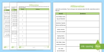 UAE Alliteration Differentiated Activity Sheet - UAE, Alliteration, english, KS2, sentences