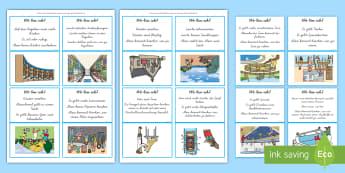 Wo bin ich? Ratespiel : DIN A4 Karteikarten - Raten, Spiel, Wortschatz, Vokabular, Orte, German