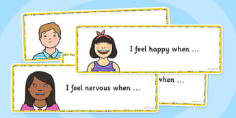 Feelings Rounds Sentence Starters - feelings, sentence, starters